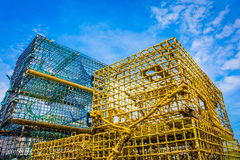 Trampas de la langosta en el embarcadero Foto de archivo