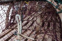 Trampas de la langosta o del cangrejo en el remolque Foto de archivo libre de regalías