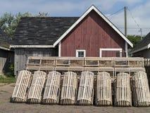 Trampas de madera tradicionales de la langosta Imágenes de archivo libres de regalías