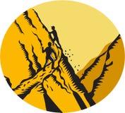 Trampers som klättrar brant träsnitt för banabergOval stock illustrationer