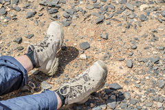 Tramping boots on Jebel Shams Royalty Free Stock Photo