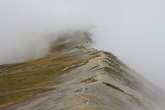 Tramping on a fogy day Royalty Free Stock Image