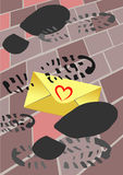 Trampled love letter Royalty Free Stock Photography