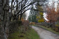 Trampled road in the village along the wicker fence on both sides in autumn. Outdoors, outside stock image