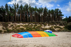 Trampoline on the beach. In Niechorze, colorful jumping pillow Royalty Free Stock Photos