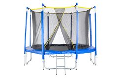 Trampoline for children and adults for fun indoor or outdoor fitness jumping on white background. Blue trampoline Isolated. With safety net with Zipper entrance stock photo