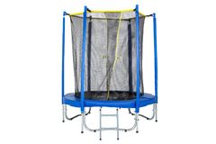 Trampoline for children and adults for fun indoor or outdoor fitness jumping on white background. Blue trampoline Isolated stock images