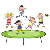 Trampoline. A group of children frolic. Children on a trampoline Stock Photography