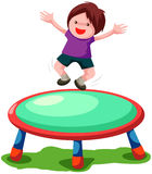 Trampoline jumping. Illustration of isolated trampoline jumping on white background Stock Photo