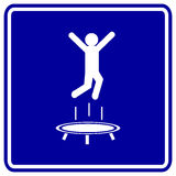 Trampoline jumping man vector blue sign Stock Images