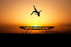 Trampoline silhouette Royalty Free Stock Image