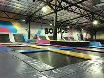 Trampolines indoor jumping. Next generation bounce playground and fun activity for all ages. royalty free stock image