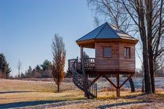 Trampolo - casa di legno sui puntelli Fotografia Stock Libera da Diritti