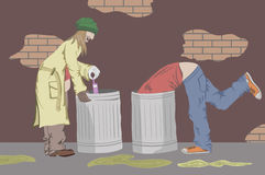 Tramps. Tramps in garbage. Vector illustration Stock Photo