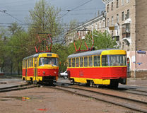 Trams. An old red and yellow trams Stock Image
