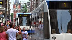 Trams in Amsterdam  City of Amsterdam. Trams in Amsterdam  Amsterdam Netherlands videoclip stock footage