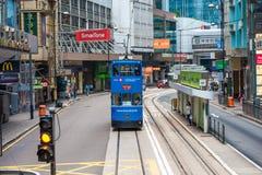 Trams auch eine Haupt-Touristenattraktion und der umweltfreundlichsten Methoden des Reisens in Hong Kong Stockfoto