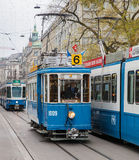 Trams on the Bahnhofstrasse street in Zurich, Switzerland Stock Photos