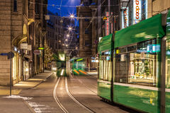 Trams at Basel High Street Stock Photos