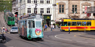 Trams in Basel old town Stock Photography