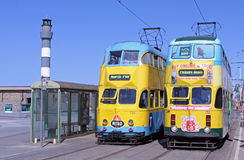 Trams on Blackpool Seafront Royalty Free Stock Photo