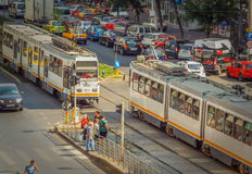 Trams in Bucharest Stock Photography