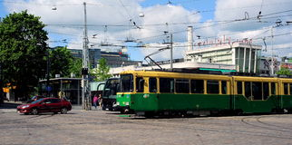 Trams in the center of Helsinki, Finland Stock Images