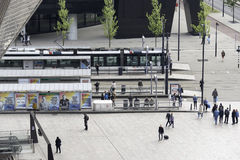 Trams at central station rotterdam Stock Images