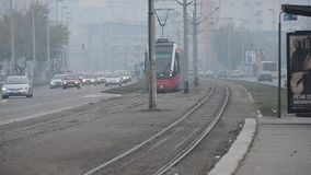 Trams in the city stock video footage