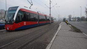 Trams in the city stock video