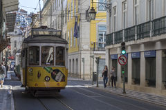 Trams on a city street in Lisbon - Portugal Royalty Free Stock Photos