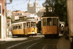 Trams on city streets, Lisbon, Portugal