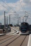 Trams d'Edimbourg à la station de murrayfield photos stock