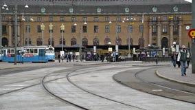 Trams de ville de Gothenburg banque de vidéos