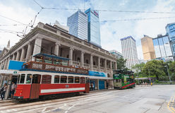 Trams go on the street in Hong Kong Royalty Free Stock Photography