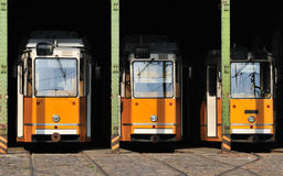 Trams in housing Royalty Free Stock Photo
