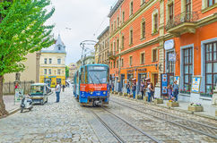 The trams in Lvov Stock Photography