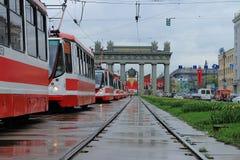 Trams on Moskovsky Prospect Stock Image