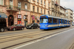 Trams in old part of Krakow at summer. Royalty Free Stock Photos
