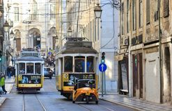 Lisbon Portugal, old town trams Stock Image