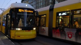 Trams and passengers at Alexanderplatz Station, Berlin, Germany. Trams and passengers outside Alexanderplatz tram and train station, Berlin, Germany – 13 stock video footage