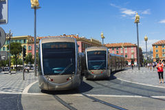 Trams Place Massena Nice stock photos