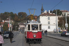 Trams in Prague. Electric powered trams getting around Prague in the Czech Republic Royalty Free Stock Photo