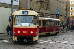 Trams in Prague. Electric powered trams getting around Prague in the Czech Republic Stock Photo