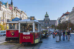 Trams in Prague. Electric powered trams getting around Prague in the Czech Republic Stock Image