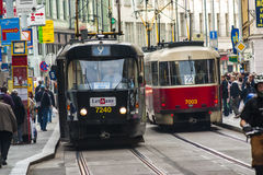 Trams in Prague. Electric powered trams getting around Prague in the Czech Republic Stock Photography