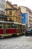 Trams in Prague. Electric powered trams getting around Prague in the Czech Republic Royalty Free Stock Image