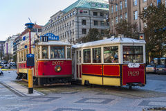 Trams in Prague. Electric powered trams getting around Prague in the Czech Republic Stock Images