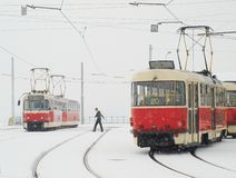 Trams in Prague in heavy snowfall Royalty Free Stock Images