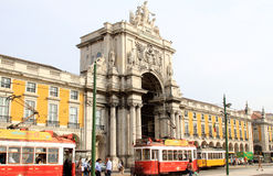 Trams for Rua Augusta Arch, Palace Square, Lisbon. Rua Augusta Arch at the Praca do Comercio, commonly known as Terreiro do Paco, located in the portuguese Stock Image